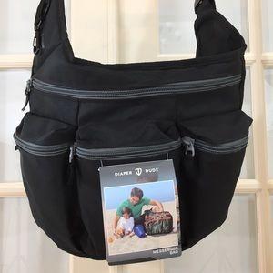 NWT Diaper Dude Sporty Messenger/Crossbody Bag BLK